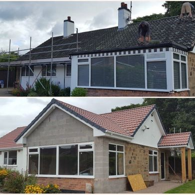 new pitched roof before and after view