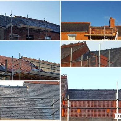 multiple images of a re-roofing task