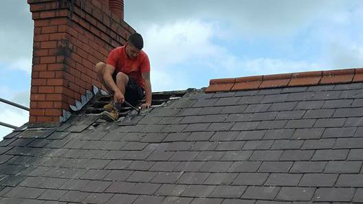 the start of a re-roofing job carried out by our team