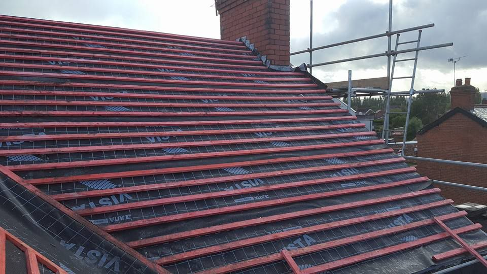 Progress of a re-roofing task being carried our by our staff